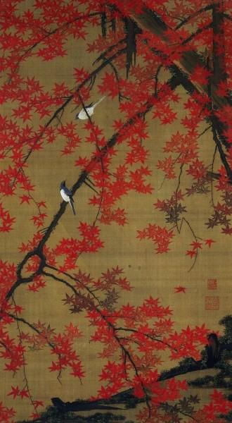 Ito Jakuchu, Edo Era Japan painting - red maple leaves